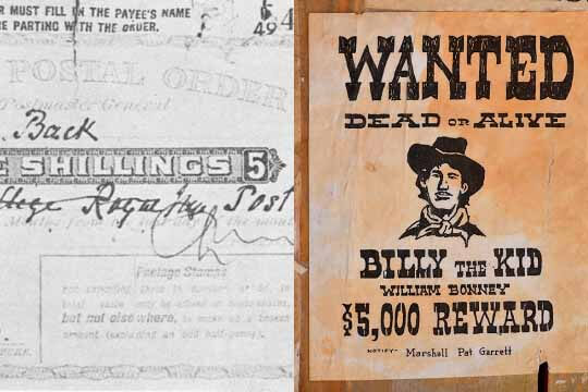 Postal order and billy the kid